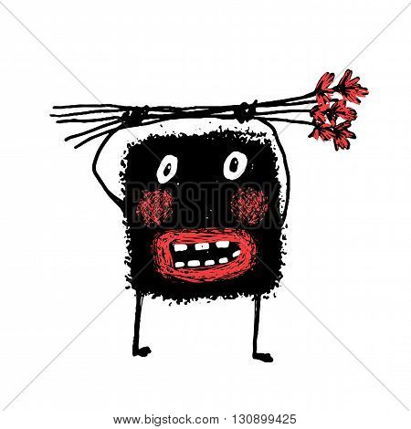 Cartoon ugly character grunge hand drawn. doodle Cute comic bizarre monster, vector drawing illustration cartoon.
