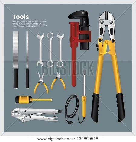 Set of Tools Collection of  Technician Vector Illustration
