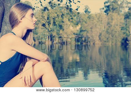 young casual beautiful girl outdoors portrait