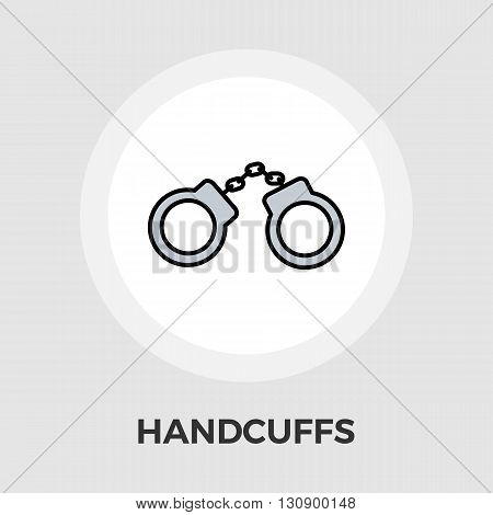Handcuffs icon vector. Flat icon isolated on the white background. Editable EPS file. Vector illustration.