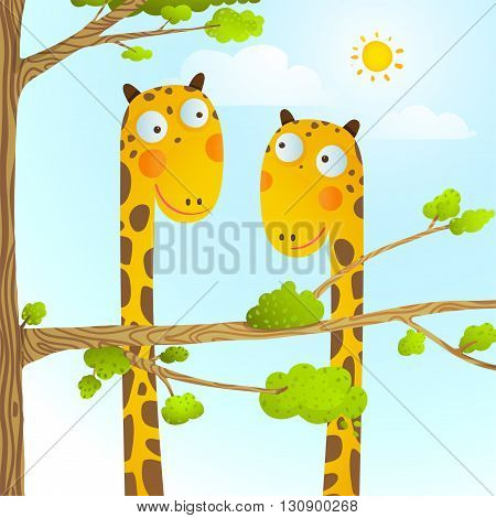 Funny friends giraffes cartoon in nature or zoo with trees background for children. Wildlife childish illustration. Vector EPS10.