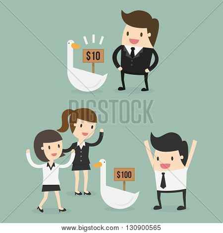 Value and Price. Business Concept Cartoon Illustration.