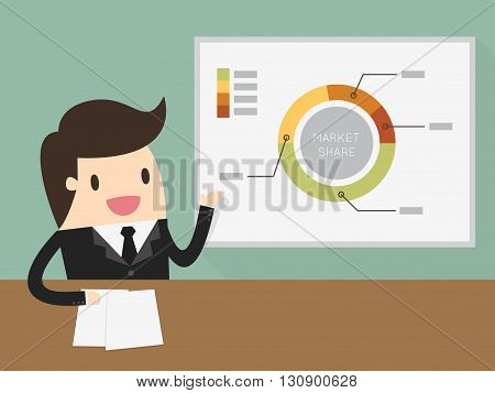 Businessman giving a presentation. Business Concept Cartoon Illustration.