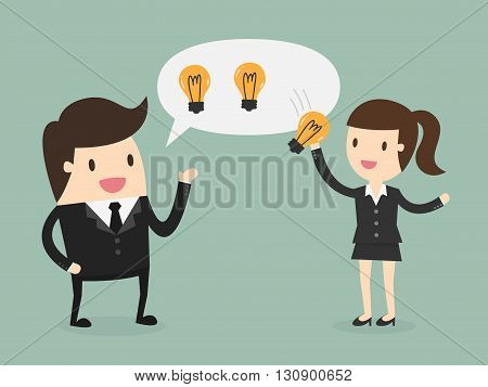 Ideas Sharing concept. Business Concept Cartoon Illustration.