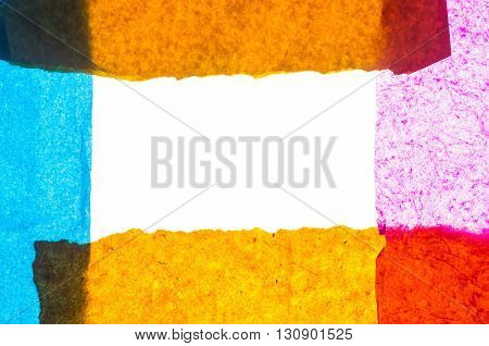 abstract composition made with colorful tissue paper to enfatize textures and colors