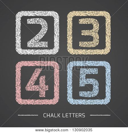 Chalk Alphabet in square frames collection. Numbers 2, 3, 4, 5