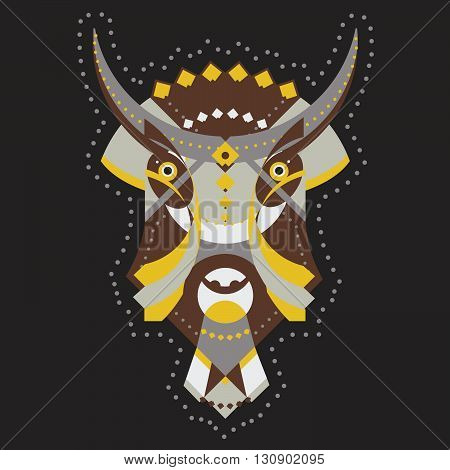 Bison bull head with tribal ornament decoration. Vector illustration of tribal mascot for tatoo, print