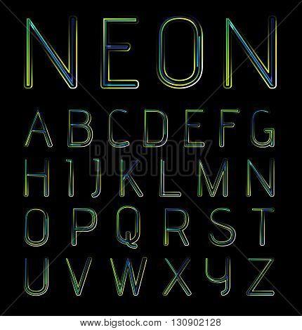 Neon holidays party alphabet, vector illustration on black background