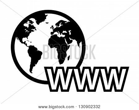 isolated black concept global internet symbol with earth map