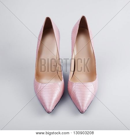 Pair of dress women shoes isolated over white