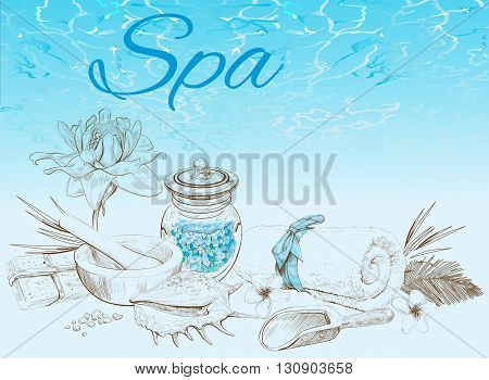Spa treatment banner on graphic background.Design for cosmetics, store, spa and beauty salon, organic health care products. Can be used as logo design. Vector illustration.