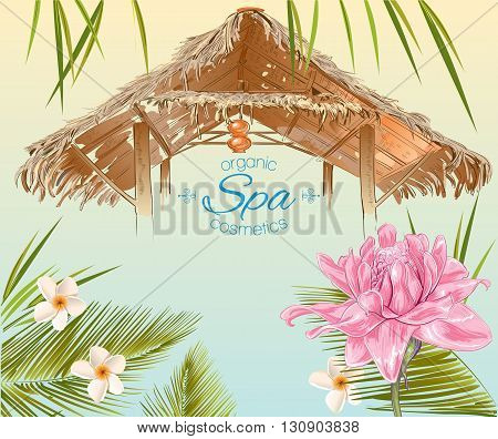 Spa banner in exotic style with bungalow roof , palm leafs , pink lotus and frangipani.Design for cosmetics, store, spa , beauty salon and travel agency.Vector illustration