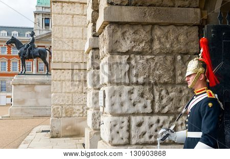 London England - June 28 2008: A sentry of Horse Guards palace