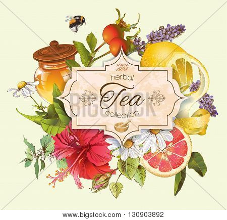 Vector vintage herbal tea banner with honey, hibiscus, lemon and rose hip.Design for tea, juice, natural cosmetics, baking, candy and sweets, grocery, health care products. With place for text.