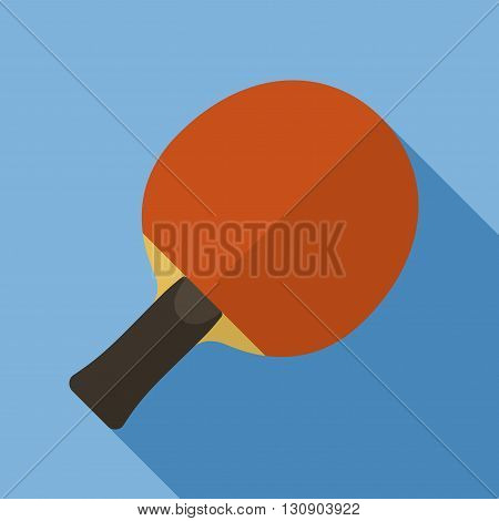 Vector illustration. Icon of toy racket Ping-Pong table with ball in flat design with shadow effect