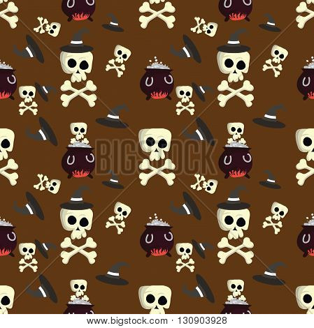 Halloween pattern with skulls, witches hats, also for textile industry, wrapping paper. Print colors used. Pattern can be found in swatches