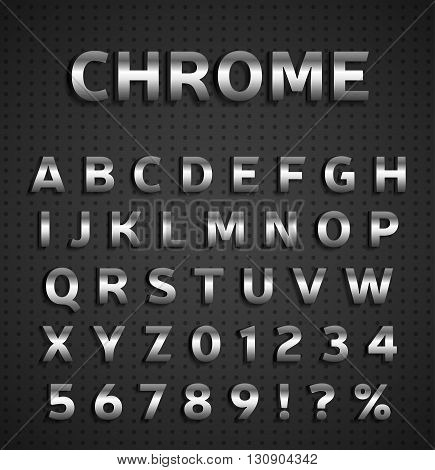Chrome alphabet set on textured metal background