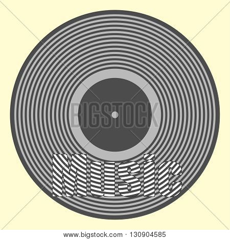 Background with  vinyl record. Vector music illustration