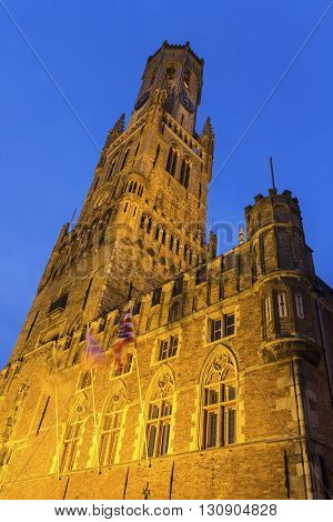Grote Markt with Belfry in Bruges in Belgium