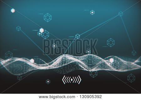 Tech pattern and wave on blue background