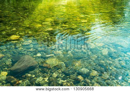 Rippling Water With Sunbeam And Stones In The Water