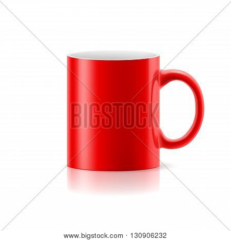 Red mug made of ceramics on white background.