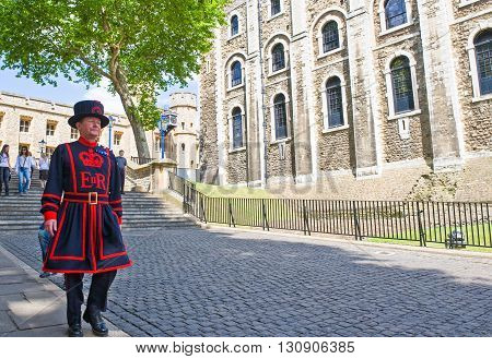 London England - June 30 2008: A guard of the London Tower