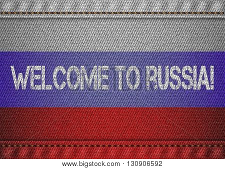 Russian tricolor flag with jeans texture and welcome inscription. Design denim fabric background. Vector illustration