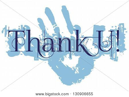 Grateful card with lettering Thank You and blue paint splashes isolated on white background. Vector illustration