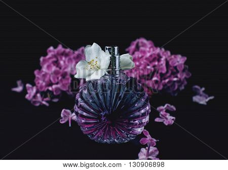 perfume and purple flowers in black background