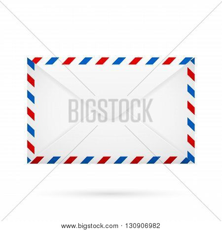White closed envelope with red blue white perimeter