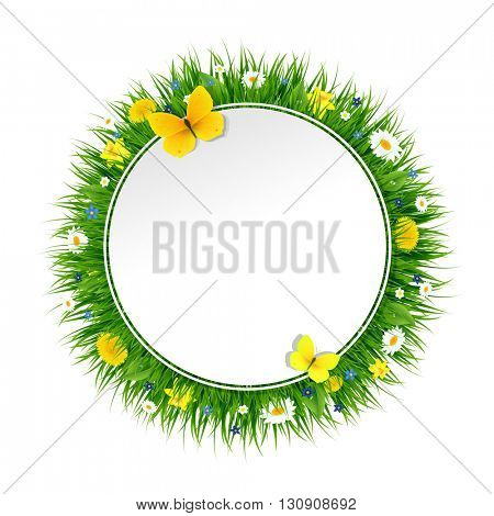 Summer Banner With Grass And Flowers