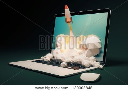 Startup concept with rocket flying out of laptop screen on black background. Sideview 3D Rendering