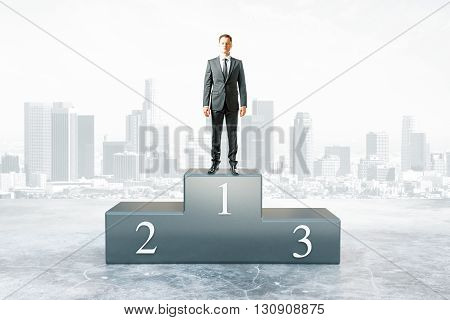 Businessman on first place pedestal and city background. 3D Rendering