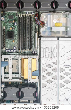 Top View Of Server Pc. Motherboard, Cpu, Cooler Fans And Ram Memory.