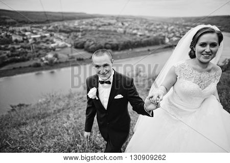 Walking And Holding Hands Stylish Wedding Couple Background Beautiful Landscape With River. B&w Phot