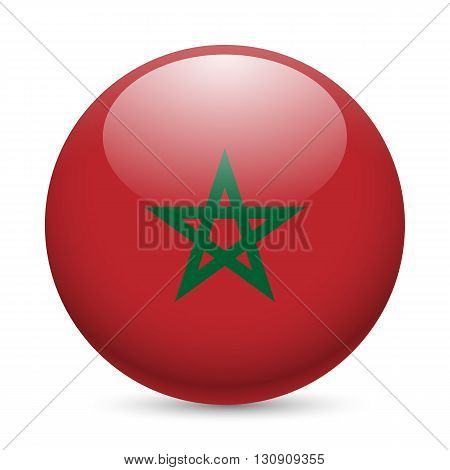Flag of Morocco as round glossy icon. Button with Moroccan flag