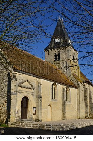 Omerville France - february 29 2016 : the roman and gothic saint Martin church