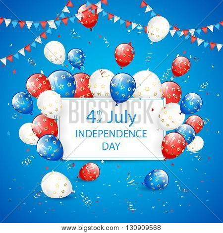 Independence day background, USA Independence day theme 4th of july with card, flying colorful balloons, pennants, tinsel and confetti, illustration.