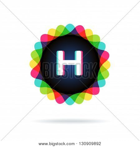 Retro bright colors Logotype, Letter H, isolated on white