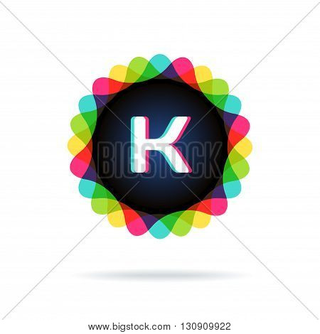 Retro bright colors Logotype, Letter K, isolated on white