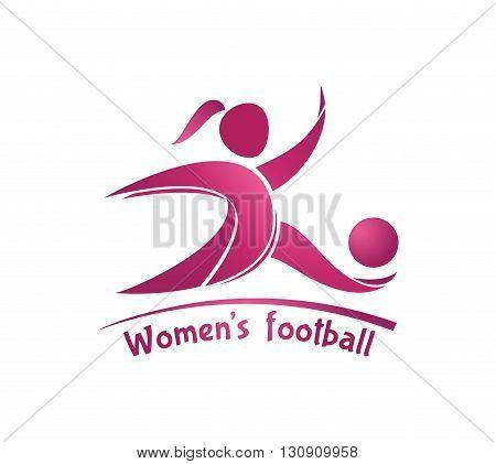 Women's football (soccer) logo. Vector template for soccer team tournament championship.