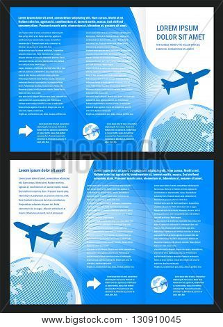 brochure airplane flight tickets air fly cloud sky blue white color travel transtortation globe background