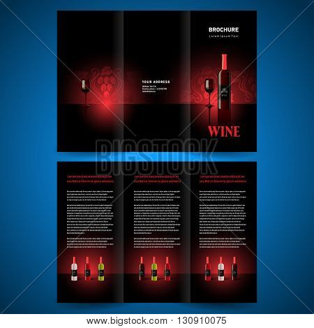 brochure folder leaflet tri-fold wine red vine
