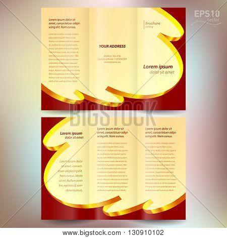 brochure design template vector folder leaflet ribbon element band wave color gold line yellow brown background