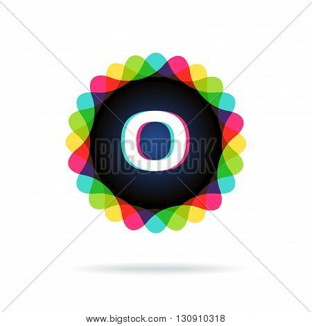 Retro bright colors Logotype, Letter O, isolated on white