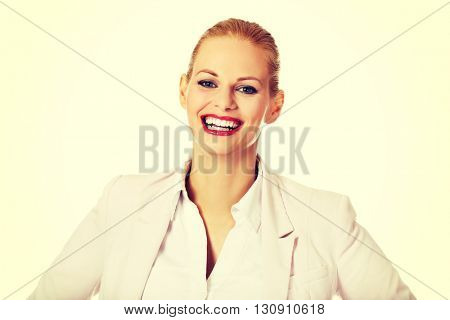 Young elegant beautiful smiling business woman