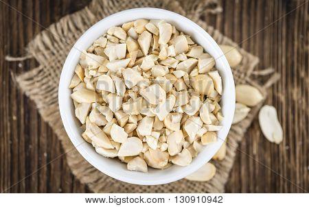 Chopped Peanuts (close-up Shot; Selective Focus)