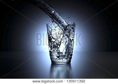 3D rendering of a glass of water spill