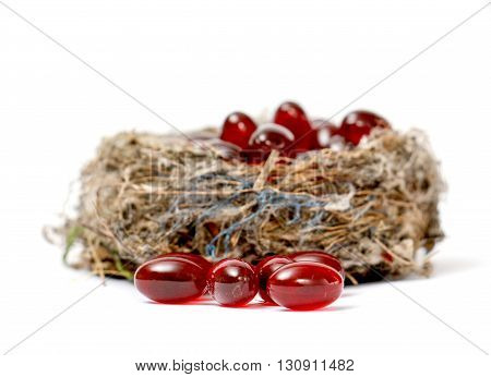 Picture of a Cod liver oil omega 3 gel capsules in sparrow nest